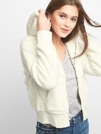 Gap Sherpa Fleece Zip Hoodie - Snow white