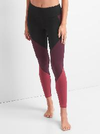 Gap Gfast High Rise Stripe Colorblock Leggings - Burgundy colorblock