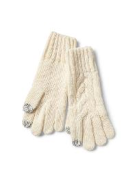 Gap Cable Knit Gloves - Cream