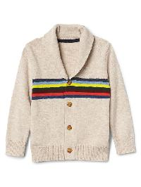Gap Crazy Stripe Shawl Cardigan - Oatmeal heather b0281