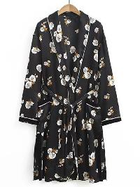 Shawl Collar Tie Waist Longline Kimono