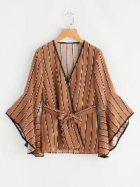 Bell Sleeve Tie Waist Pencil Stripe Kimono