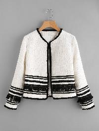 Pearl & Fringe Tape Embellished Tweed Blazer