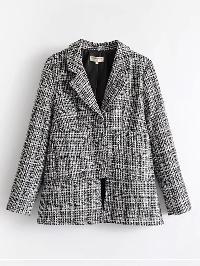 Side Slit Tweed Blazer