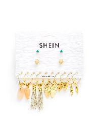 Mixed Charm Stud & Drop Earrings 7 Pairs