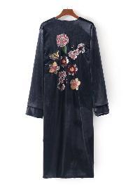 Flower Embroidery Velvet Longline Kimono